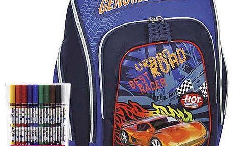 Pokrokový školní batoh Cherry s motivem závodního auta z kolekce COOL, barva modrá.