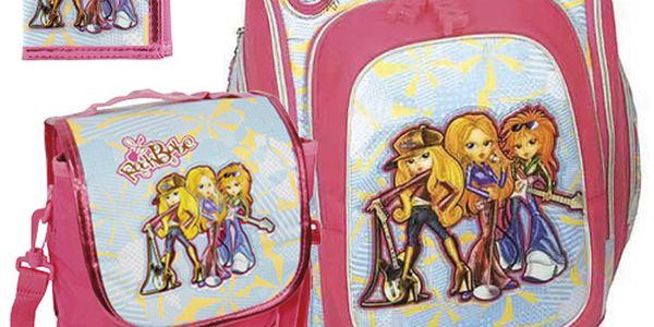 Školní batoh Cool Cherry set motiv RockBabe Triple: penál, peněženka, taška svačinářka