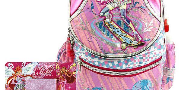 Školní batoh Cool set motiv Winx: ořezávátko, pero, pozámkový bloček