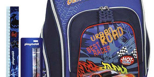 Pokrokový školní batoh Cool Cherry set motiv Playmobil: ořezávátko, pravítko, tužka