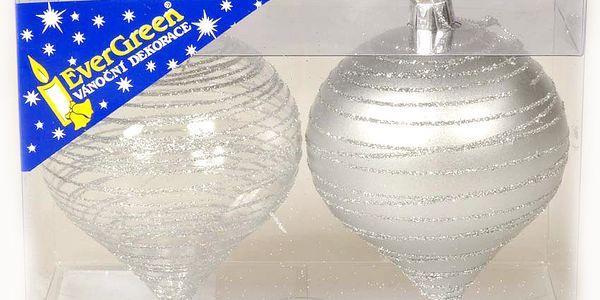 Ozdoba Cibule třpytivé proužky, stříbrná, 8 cm, HTH