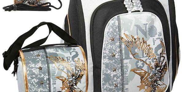 Školní batoh Cool Cherry set motiv Eagle: penál, peněženka, taška svačinářka