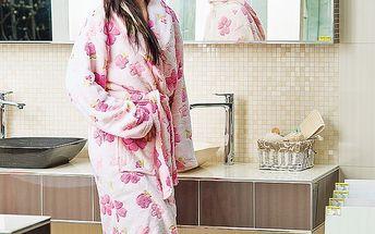 Růžový dámský župan - po koupeli do příjemného a teplého županu