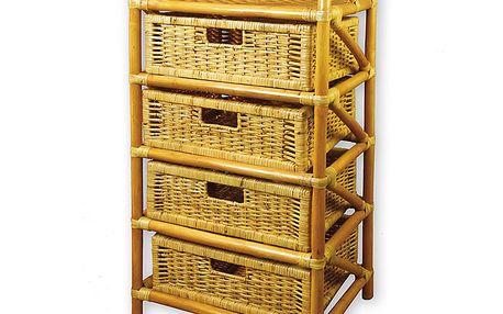 Ratanová komoda 4 zásuvky ratan medová AXIN trading