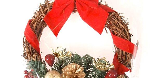 Dekorativní vánoční věneček, pr. 20 cm, HTH