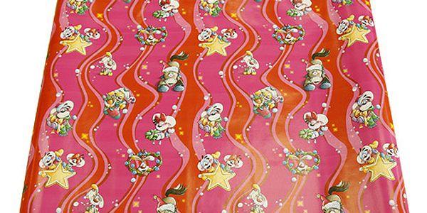 Kvalitní balicí papír s vánočním motivem myšky Diddliny a jejích přátel, barva červená se třpytkami.