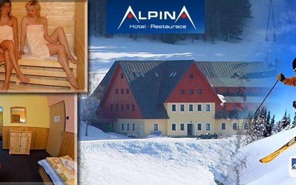 Ubytování přímo u sjezdovky Hromovka ve Špindlerově Mlýně! Pobyt pro 2 osoby na 4 nebo 5 dní v hotelu Alpina*** s polopenzí. V ceně sauna a další bonusy. Užijte si super lyžařské podmínky a fascinující panorama Krkonoš!