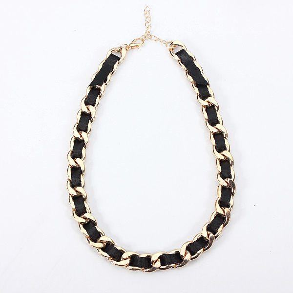 Dámský saténový náhrdelník se zlatým řetízkem a poštovné ZDARMA! - 1607047