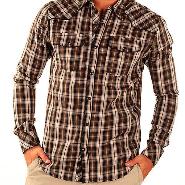 Pánská hnědá košile s kostkami New Caro