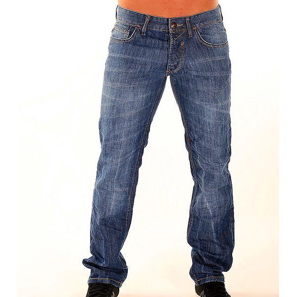 Pánské modré džíny New Caro s šisovaným efektem