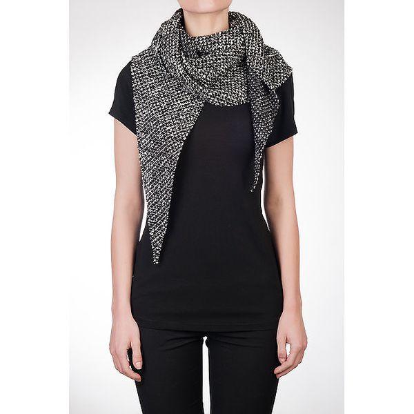 Dámské černé tričko s vlněnou šálou Mera