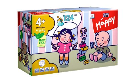 Prodyšné plenky Bella Happy Maxi Plus Big Pack - 124 ks