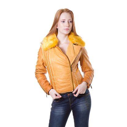 Dámská žlutá bunda Yes!Miss s kožíškem