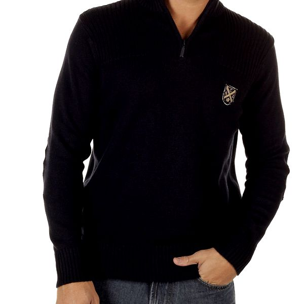 Pánský černý svetr s rolákem CLK