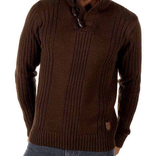 Pánský hnědý svetr s olivkami CLK