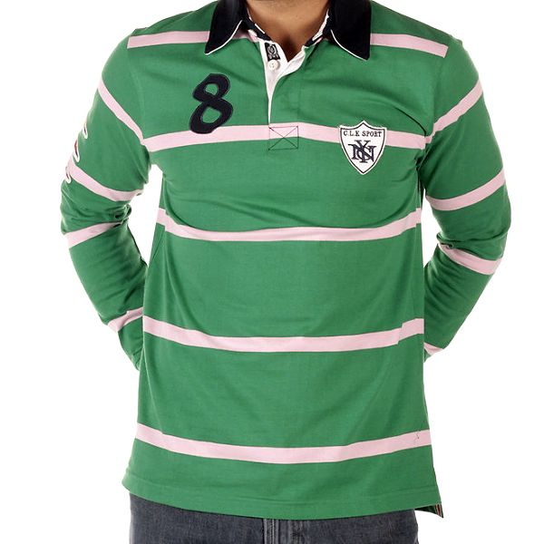 Pánské zelené pruhované triko s límečkem CLK