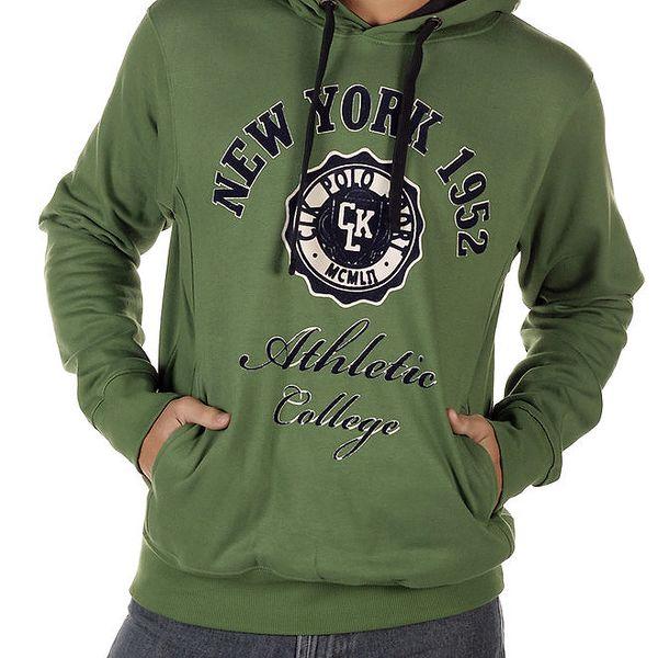 Pánská zelená mikina s kapucí CLK