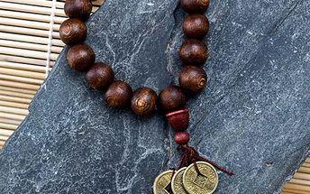 Buddhův náramek z exotického dřeva s mincemi štěstí
