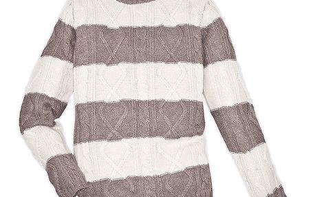 Pánský béžově pruhovaný svetr 98-86