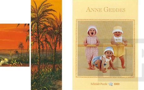 """3x puzzle: Puzzle Anne Geddes """"Začínající gymnasté"""" + Puzzle J.Warren """"Aljašská iluze"""" + Triptych puzzle """"Dojmy z Egypta"""""""