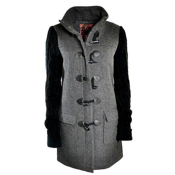 Dámský šedý kabát s pletenými rukávy Urban Surface