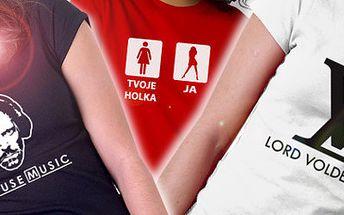 50% sleva na trička s potiskem! House Music nebo Lord Voldemort?