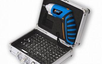 Aku šrubovák ASIST AE2S036L v hliníkovém kufříku s bohatou výbavou bitů a vrtáků 120ks.