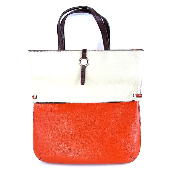 Dámská kožená oranžovo-bílá kabelka Belle & Bloom