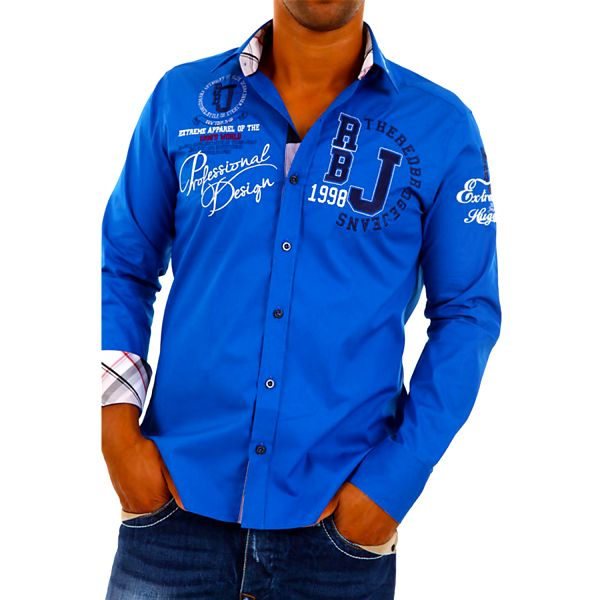 Pánská košile Redbridge modrá s potiskem
