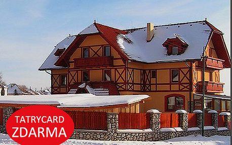 Zima v rodinném penzionu ve Vysokých Tatrách pro DVA s polopenzí a saunou