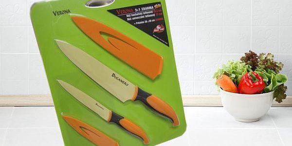 Kuchyňské teflonové nože + prkénko