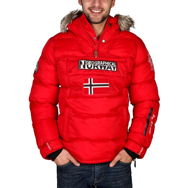 Pánská červená bunda s vlajkou Geographical Norway