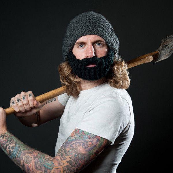 Čepice Beardo Original s odepínatelným plnovousem, tmavě šedá