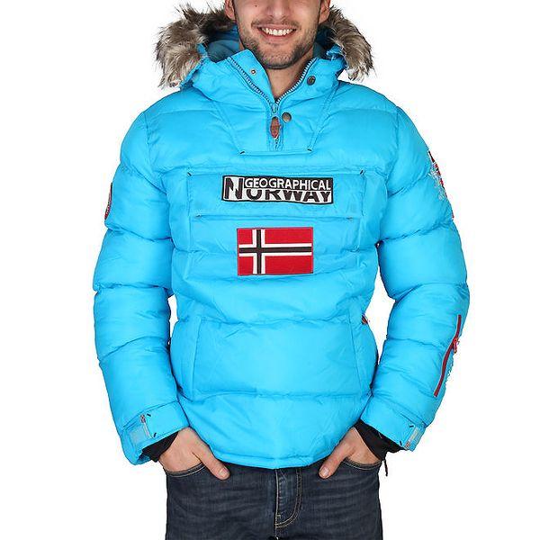 Pánská tyrkysová bunda s vlajkou Geographical Norway