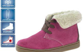 Moderní dívčí kožená obuv Beppi 2127772_aw růžové barvy