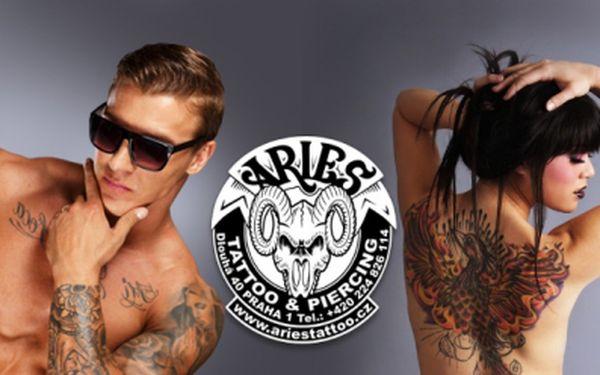 Ozdobte své tělo TETOVÁNÍM ve vyhlášeném tetovacím salónu Aries na Praze 1! TETOVÁNÍ o velikosti 9 x 9cm za pouhých 1049 Kč dle Vašeho návrhu či fantazie tatéra! Sleva 52%!