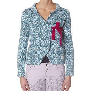 Úžasný pletený kabátek s pleteným pásečkem fuchsiové barvy na zavázání turquoise 233
