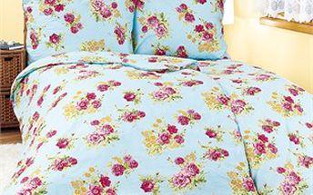 Romantický motiv květin a jemná barevnost povlečení Růže.
