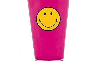 Veselá sklenička se smajlíkem růžová