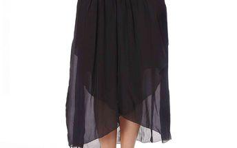 Delší hedvábná sukně v elegantní černé barvě s nádherně zdobeným pasem efektní barevnou výšivkou v etno stylu black 470