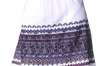 Bavlněná bílá sukně s folklórní výšivkou white 302
