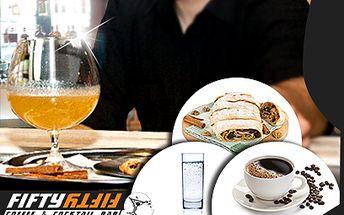 Káva, minerálka a závin PRO DVA za 77 Kč! Elegantní Fifty Fifty Bar!