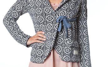 Úžasný pletený kabátek dark indigo 233