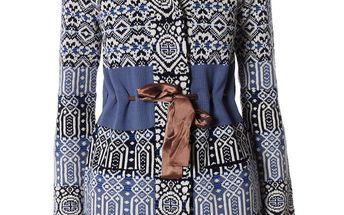 Nádherný pletený svetr se saténovou stužkou pro stažení v pase 047