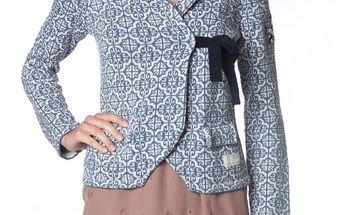 Úžasný pletený kabátek, modrý pletený páseček na zavázání, vintage 233