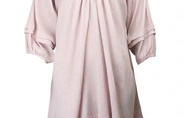 Nádherné lehké šaty ve skandinávksém stylu z látky s mačkaným efektem Curly pail purple