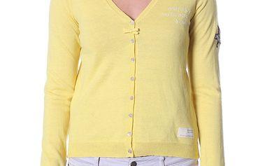 Jemný svetřík ve světle žluté barvě s rozepínáním na knoflíčky 114