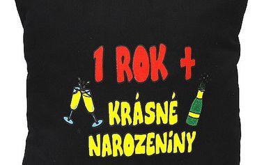 """Polštář 30x30 Funny thinks 1 ROK + """"Krásné narozeniny, černý"""