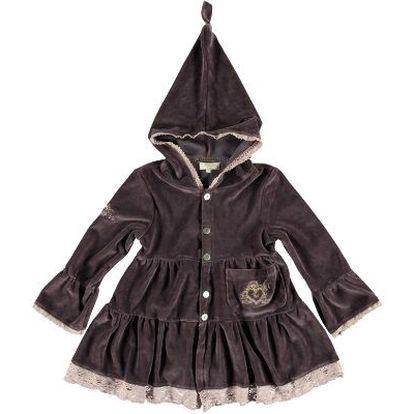 Krásný kabátek Plum s kapucí pro malé slečny z heboučkého jemného sametu v tmavě fialové barvě.