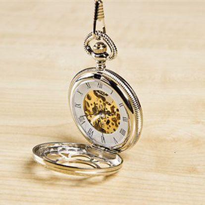 Kapesní hodinky včetně dlouhého řetízku se sponou